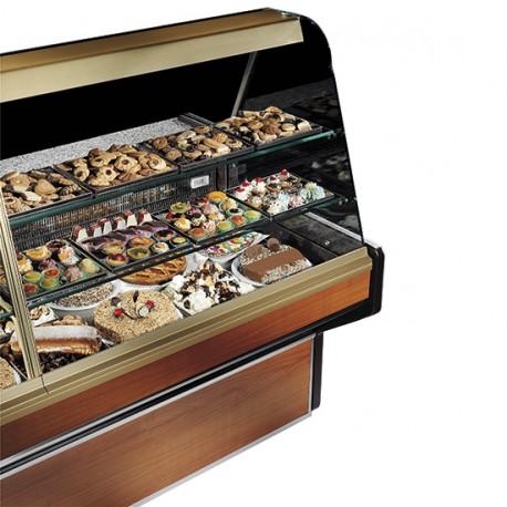 Comptoir réfrigéré statique pour pâtisserie avec 2 étagères, +4 °C/+6 °C, 1000 mm