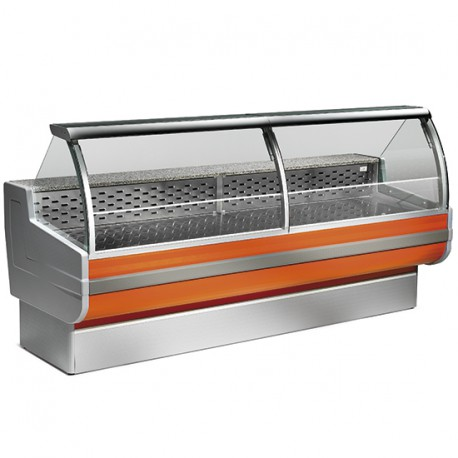 Refrigerated counter with curved glass, static cooling, +4 °C/+6 °C, W 2000 mm