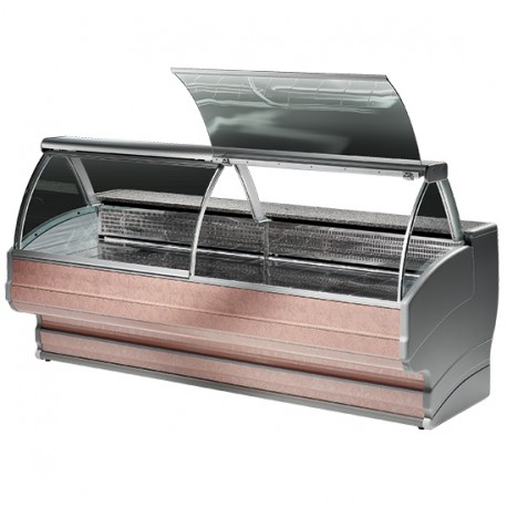 Refrigerated counter with curved glass, static cooling, +4 °C/+6 °C, W 2500 mm