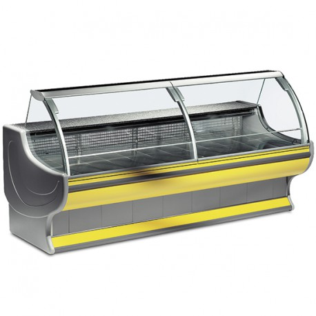 Refrigerated counter with curved glass, static cooling, +4 °C/+6 °C, W 1290 mm