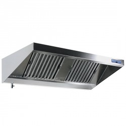 Wall-mounted hood with motor, lighting and speed governor, 1500x900 mm