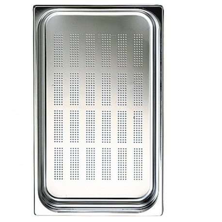 GN container in stainless steel, perforated, GN 1/1 H 100 mm