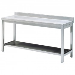 Work table with shelf, with upstand, 600x600 mm