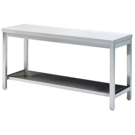 Work table with shelf, without upstand, 1800x700 mm