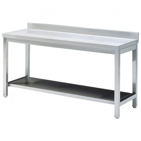 Tavolo da lavoro con mensola, con piedritto, 600x700 mm