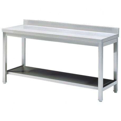 Tavolo da lavoro con mensola, con piedritto, 1200x700 mm