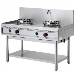 Plan de cuisson wok à gaz avec étagère, 2 brûleurs