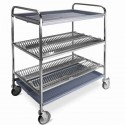 chariot égouttoir à vaisselles et verres avec 2 niveaux, capacité 120 assiettes