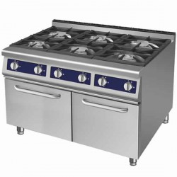 cuisinière à gaz, 6 brûleurs, 2 armoires fermées