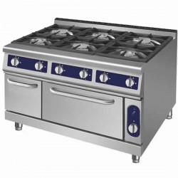 cuisinière à gaz, 6 brûleurs, 1 four à gaz