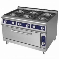 cucina a gas 6 fuochi su maxi forno a gas