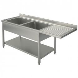 Plonge sur piètement avec étagère inférieure, place pour lave-vaiselle, 2 bacs à gauche, 1600x700 mm