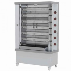 gas chicken grill with lighting, 6 spits for 30 chickens