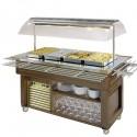 Buffet chaud à île avec plan en vitrocéramique, 4x GN 1/1