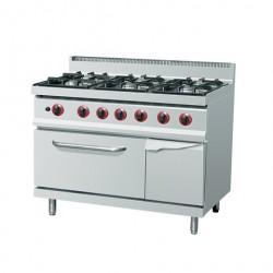 gas stove 6xburners ( 28,5 kW) + gas oven (4 kW)