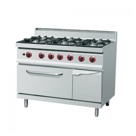 Cuisinière au gaz 6xBrûleur(s) (28,5 kW) + Four au gaz (4 kW)
