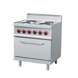 Cuisinière électrique 4xPlaques ( 10,4 kW) + four électrique ventilé (3 kW)