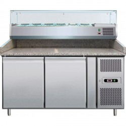 Table à pizza avec 2 portes 1510X800X1415, superstructure réfrigérée 8x GN 1/2