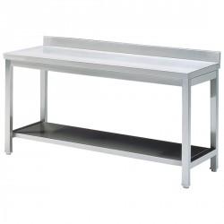 Tavolo da lavoro con mensola, con piedritto, 1500x600 mm