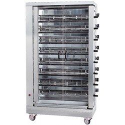 gas chicken grill with lighting, 8 spits for 40 chickens