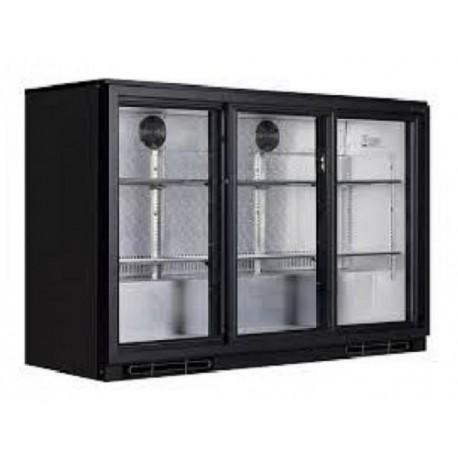 Table de bar réfrigérée 3 portes en verre