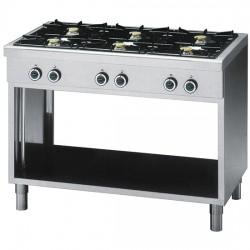 Cuisinière gaz professionnelle, 6 brûleurs