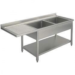 Plonge sur piètement avec étagère inférieure, place pour lave-vaiselle, 2 bacs à droite, 1800x700 mm