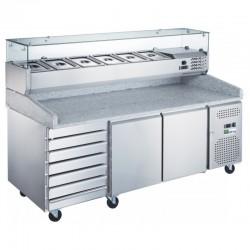 Table à pizza avec 2 portes et tiroirs 2025X800X1415 , superstructure réfrigérée 9 GN1/3