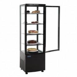vitrine réfrigéré verticale de table avec 3 étagères, 68 litres, 0 °C/+12 °C, couleur noire